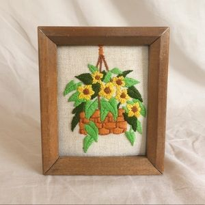 Yellow flowers framed embroidery art
